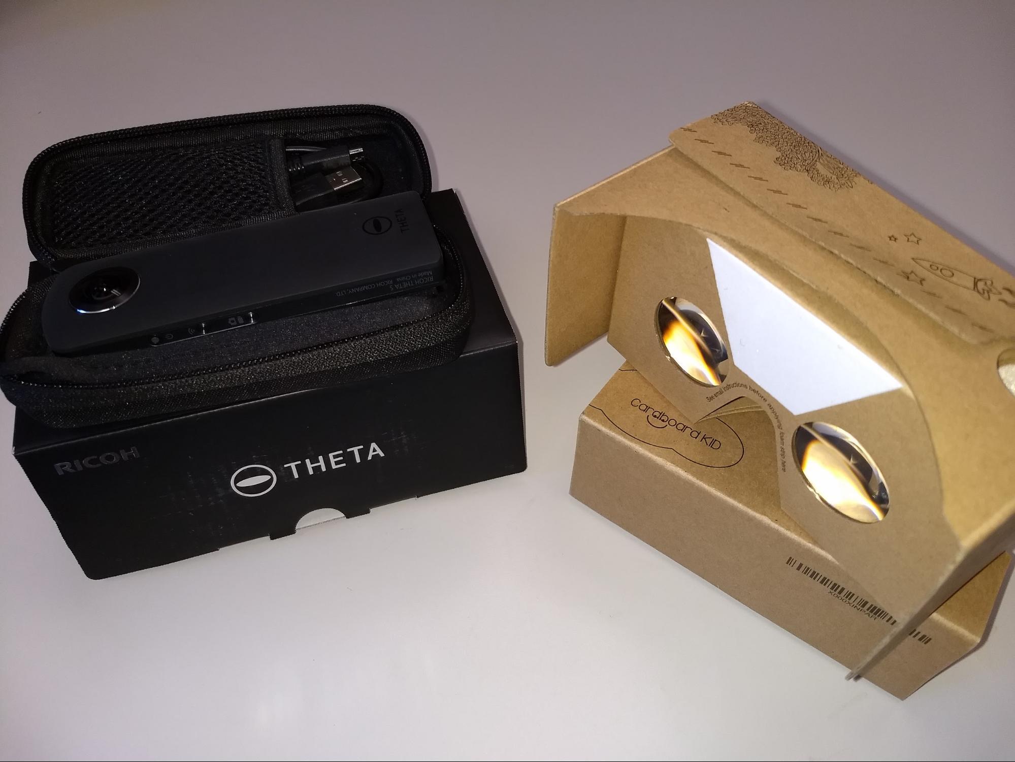 Ricoh Theta 360 camera and Google Cardboard headset
