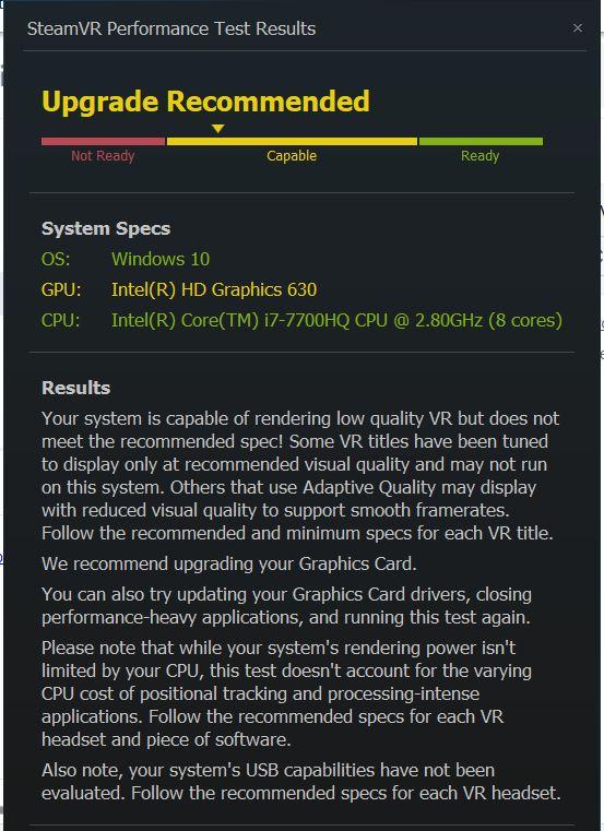 Screenshot of SteamVR performance test